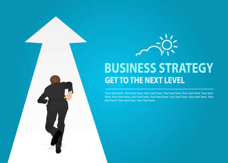 Vector Illustration of a person that is running on a arrow in modern style. Concept of Business Strategy, Wealth-Building Business, Growth, balance, success, training, logo, business opportunities.