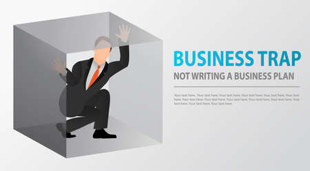 Flat businessman trapped inside uncomfortable small box. Claustrophobia. Fear of closed spaces. Business problems and failure at work concept. Ilustração