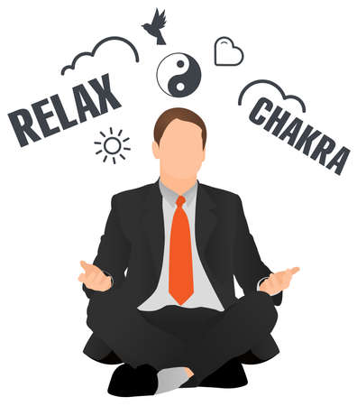 Isolated vector businessman meditating and relaxing. Peaceful worker sitting in lotus pose. Man doing choose. Manager doing yoga and get calm. Сoncept of success, peace, harmony, brainstorm.