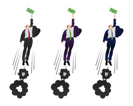 Illustration of  vector flat businessman trying to get a dollar. Being motivated by money. Earning much more money. Pursuit of money.  Trying to earn.
