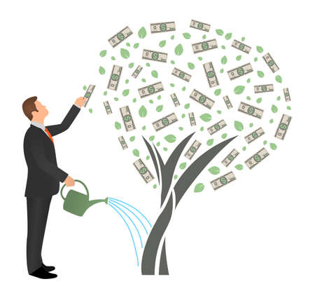 Flat vector businessman watering money tree and reaches for the dollar. Successful man business project investment income concept isolated on white background.