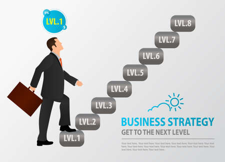 Novice businessman starts to climb the stairs. Concept of Business Strategy, Wealth-Building Business, Growth, balance, success, training, business opportunities.