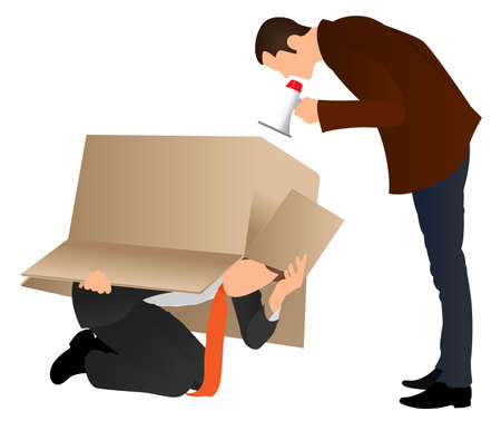 Problems at work. Businessman hiding under cardboard box. Boss screaming with a megaphone. Business concept. Angry boss yelling at employee for missing deadline. Guy showing bad work results. Иллюстрация