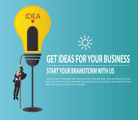 Businessman climbing on rope to Lamp lighting to navigate to success. Brainstorming idea and business concept.