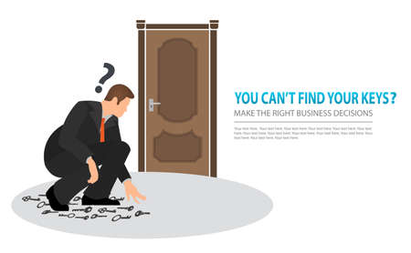 Make the right business decisions concept. Squatting vector flat businessman looking for the right key to open the closed door. Doubtful businessman selecting the best solution.