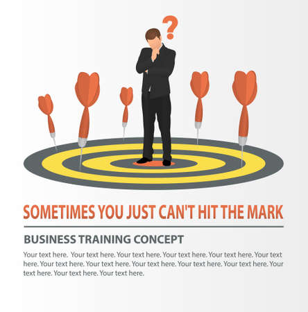 Vector concept of missed target business strategy. Businessman looking at the dart board. Darts missed the target.  Business training, education, analysis concept.