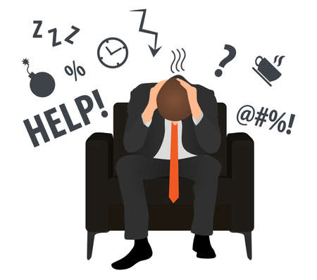 Overworked and tired businessman or office worker sits in a chair. Business stress. Flat style modern vector illustration. Man Has Clasped Head Hands Overworked. Busy. Icon. Fail. Deadline. Problem. 版權商用圖片 - 130123509