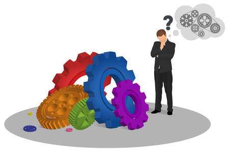 Pensive businessman looking at floor with colorful gear mechanisms and trying to figure out how to make it work. Man looking at cogwheels. Mechanism, success, idea, innovation, study concept.
