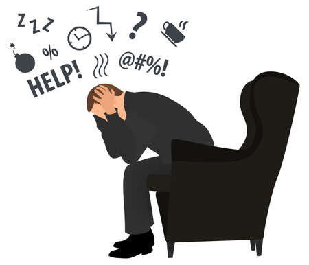 Profile view of overworked and tired businessman or office worker sits in a chair . Business stress. Flat style modern vector illustration. Man Has Clasped Head Hands Overworked. Busy. Icon. Fail.