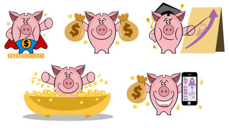 Piggy bank in various action. Set of piggy bank in different situations. Making money concept. Piggy bank vector icon set. Collection of piggy banks with different face expressions.