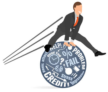Cheerful businessman jumps over his problems and fears. Concept of mental emotional balance, calming down, stress resistance, no stress free relief, avoiding negative, positive thinking, psychology.