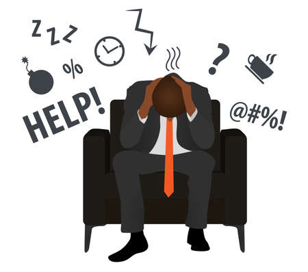 Overworked and tired black businessman or office worker sits in a chair. Business stress. Flat style modern vector illustration. Man Has Clasped Head Hands Overworked. Busy. Icon. Fail. Deadline. Ilustração