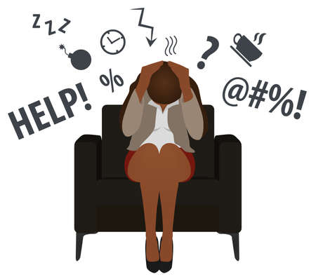Overworked and tired black business woman or office worker sits in a chair. Business stress. Flat style modern vector illustration. African Woman Has Clasped Head Hands Overworked. Busy. Icon. Fail.