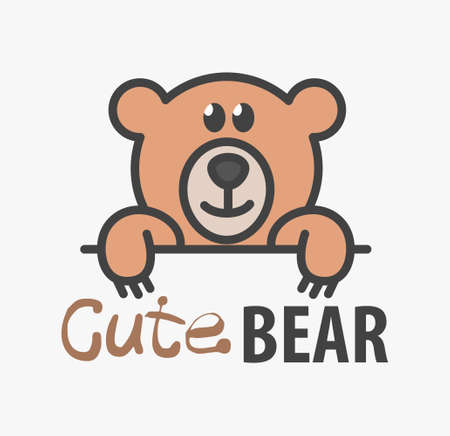 template with cute teddy bear. Vector design template for pet shops, veterinary clinics and animal shelters. Cartoon bear illustration.
