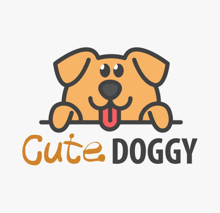 template with cute puppy. Vector design template for pet shops, veterinary clinics and animal shelters. Cartoon dog illustration.