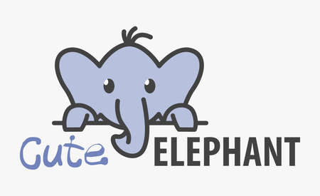 template with cute elephant. Vector design template for zoo, veterinary clinics. Cartoon african animal illustration.
