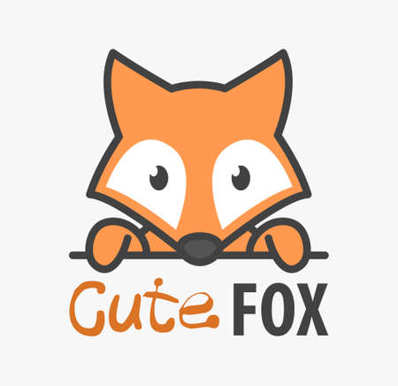 template with cute fox. Vector design template for zoo, veterinary clinics and animal shelters. Cartoon foxy illustration.