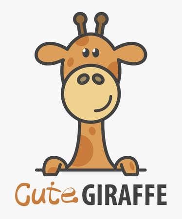 template with cute giraffe. Vector design template for zoo, veterinary clinics. Cartoon african animal illustration. 向量圖像