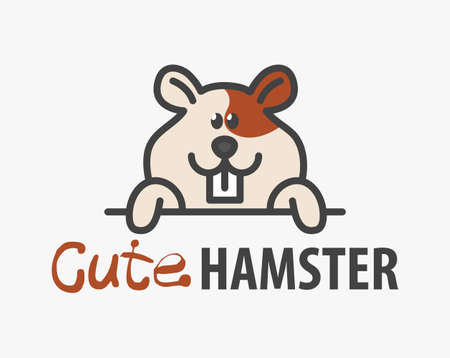 template with cute hamster. Vector design template for pet shops, veterinary clinics and animal shelters. Cartoon cavy illustration. 向量圖像