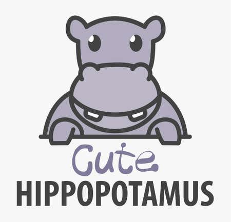 template with cute hippopotamus. Vector design template for zoo, veterinary clinics. Cartoon african animal illustration.