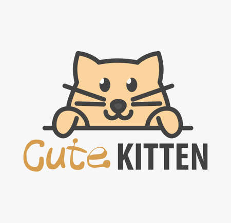 template with cute kitten. Vector design template for pet shops, veterinary clinics and animal shelters. Cartoon cat illustration.