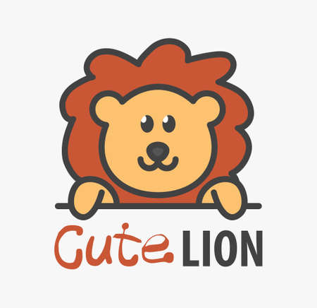 template with cute lion. Vector design template for zoo, veterinary clinics. Cartoon african animal illustration.