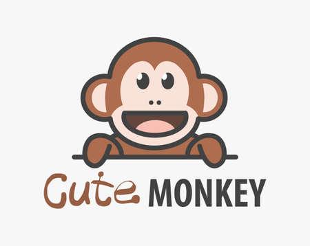 template with cute monkey. Vector design ape template for zoo, veterinary clinics. Cartoon african animal  illustration. 向量圖像