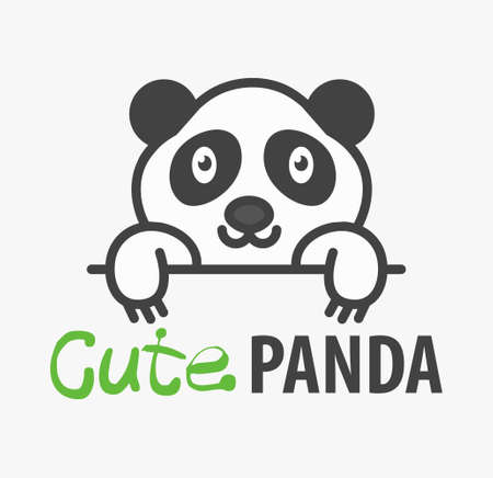 template with cute panda. Vector design template for pet shops, veterinary clinics and animal shelters. Cartoon bear illustration.