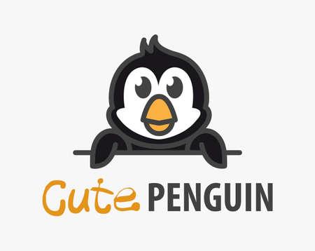 template with cute penguin. Vector design template for zoo, veterinary clinics, ice cream shop. Cartoon Antarctic animal illustration.