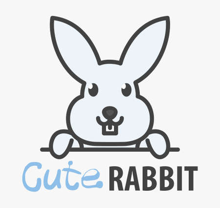 Vector of сute funny smiling cartoon rabbit. Modern humorous template with image of the bunny. Butchery . Can be use for advertising farm, market, butcher shop, pet shop, veterinary.