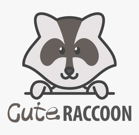 template with cute raccoon. Vector design template for zoo, veterinary clinics and animal shelters. Cartoon coon illustration. 向量圖像