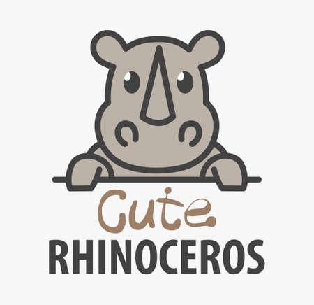 template with cute rhinoceros. Vector design rhino template for zoo, veterinary clinics. Cartoon african animal illustration.