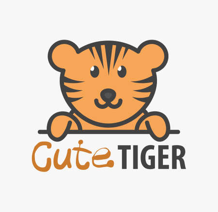 template with cute tiger. Vector design template for zoo, veterinary clinics. Cartoon african animal illustration.