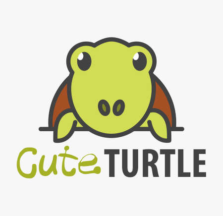 template with cute turtle. Vector design template for pet shops, veterinary clinics and animal shelters. Cartoon tortoise illustration.