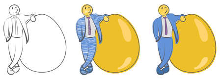 Businessman is standing near large golden egg. Concept for wealth. Natural born leader. Startups and new businesses. Investment and retirement. Hand drawn cartoon doodle vector illustration.