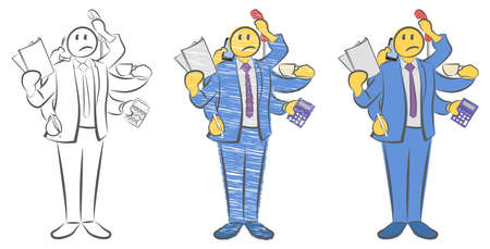 Guy with six hands holding objects. Worker with multitasking and multi skill. Not enough hands. Can not get in time. Super businessman concept. Man needs vacation. Doodle vector illustration.
