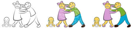 Quarreling Parents and crying baby. Hand drawn cartoon doodle vector illustration. Angry sad parents man woman characters quarrel near child. Family breakup problem. Divorce of husband and wife. Иллюстрация
