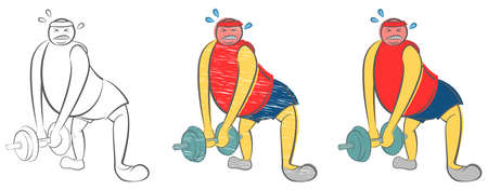 Fat man can not lift a heavy dumbbell. Guy trying to Lose Weight. Health care concept. Need to lose weight and get the perfect body. Sport failure. Hand drawn cartoon doodle vector illustration.