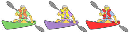Cheerful guy sitting in kayak and holding paddle. Man paddling a kayak. Concept for adventure, travel, action. Active summer recreation. Hand drawn cartoon doodle vector illustration. Three colors. Çizim
