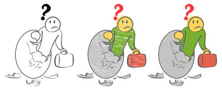 Frightened person looks from inside a giant golden egg with a broken top. Student looking for a job. Joining business world. New entrepreneur. Birth of startup. Ð¡artoon doodle vector illustration. Stock fotó - 130124934
