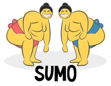 Funny Sumo wrestler Logo. Japan culture abstract design template. Hand drawn cartoon doodle vector illustration. Traditional Symbol for Japanese cuisine sushi roll concept icon. Иллюстрация