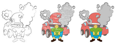 Tired man waiting a help while sitting near the broken car angry. Businessman sitting next to a damaged car. Stressed man sitting after a car breakdown. Hand drawn cartoon doodle vector illustration