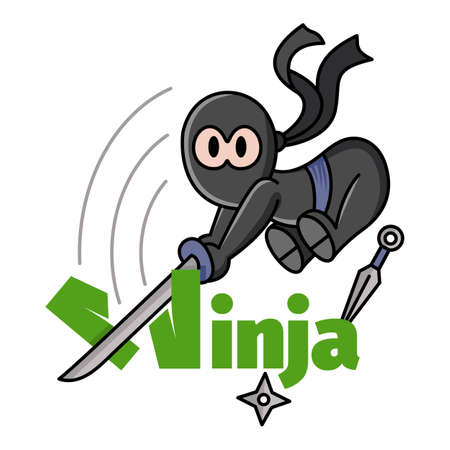 Illustration of a little jumping funny chibi ninja. Ninja Samurai Warrior Fighter Character Cartoon. Design for print, t-shirt, party decoration.