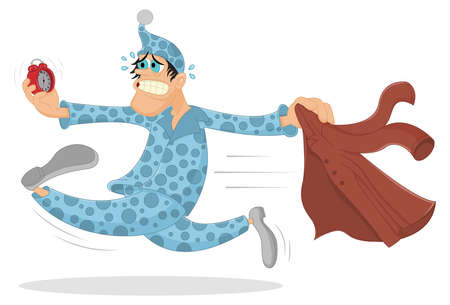 Funny overslept man gets dressed and runs on the work looking at alarm clock and is shocked. Cartoon character waking up too late. Man needs to get up earlier. Morning and overslept concept. Ilustração