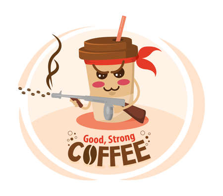 Funny cartoon character coffee cup holding a machine gun. Strong coffee concept.