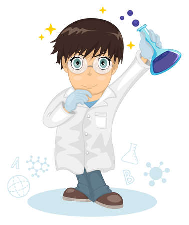 Cute little smart boy. The boy scientist. Little boy holding a test tube, holds a chemical experiment. Cartoon character. Kid boy wearing a white lab gown. Professor made a scientific discovery. Ilustração