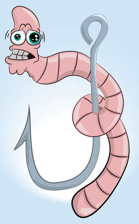 Scared cartoon worm hanging from a fishing hook. Funny Character Worm Isolated on Blue Background. Vector illustration. Fishing concept in cartoon style. Banco de Imagens - 131769669