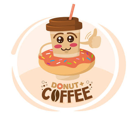 Funny vector illustration of cartoon character coffee cup wore a donut. Coffee shop concept. Ilustração
