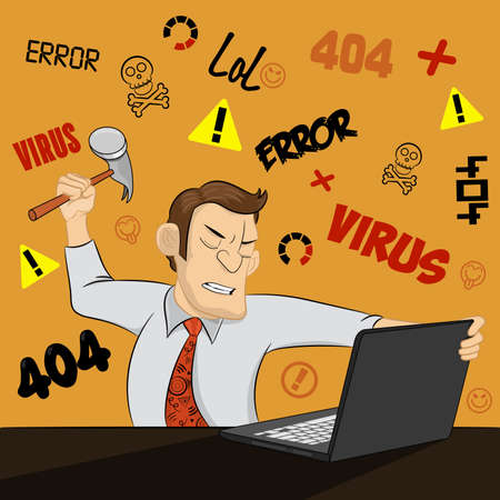 An angry man destroys his computer with a hammer on funny background. Furious young businessman ready to smash his laptop. Extremely angry guy destroying his computer. Concept of computer problem. Ilustração