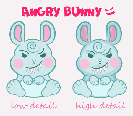 Little cute evil bunny is sitting with a terrible smile in two detail mode. Concepts for childrens party, event, Halloween, etc.